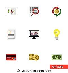 apartamento, jogo, finanças, elements., pagamento, mapa, inclui, também, idéia, vetorial, dinheiro, objects., documento, outro, ícone