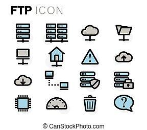 apartamento, jogo, ftp, ícones, vetorial, linha