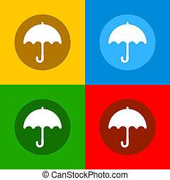 apartamento, jogo, guarda-chuva, ícones, cor, vetorial, desenho, style.