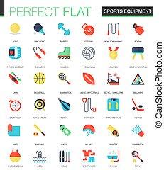 apartamento, jogo, icons., equipamento, vetorial, desporto