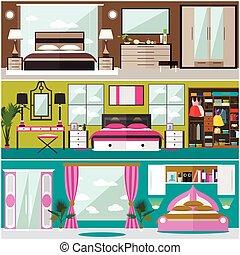 apartamento, jogo, illustration., ícones, casa, vetorial, desenho, quarto, interior, bandeiras, style., elementos, sala