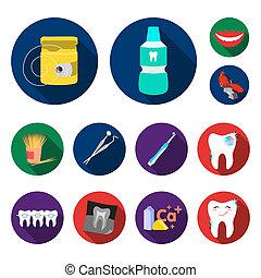 apartamento, jogo, illustration., ícones, dental, cobrança, bitmap, teia, dentes, design., símbolo, cuidado, estoque