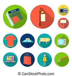 apartamento, jogo, illustration., ícones, símbolo, cobrança, bitmap, equipamento, producao, anunciando, teia, design., estoque