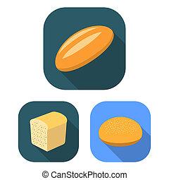 apartamento, jogo, illustration., ícones, símbolo, cobrança, bitmap, panificadora, produtos, teia, pão, design., tipos, estoque