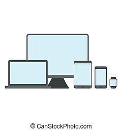 apartamento, jogo, illustration., mockup, modernos, isolado, dispositivos, experiência., vetorial, dispositivo, branca, template.