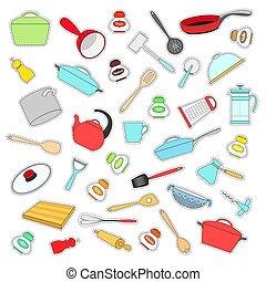 apartamento, jogo, illustration., pratos, etiquetas, vetorial, style.