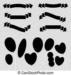 apartamento, jogo, illustration., simples, balões, text., isolado, labels., transparente, infographics, experiência., silhuetas, vetorial, pretas, bandeiras, lugar, anunciando, suitable, fitas, desenho, festivais