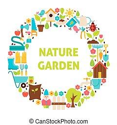 apartamento, jogo, jardim, natureza, sobre, objetos, círculo, branca