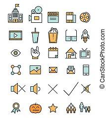 apartamento, jogo, linear, ícones, indústria filme, cinema, ilustração, vetorial, teia, linha, style., elementos, design.