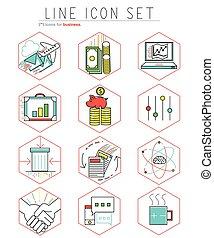 apartamento, jogo, linear, ícones negócio, vetorial, teia, linha, design., style., elementos, illustration.