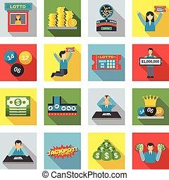 apartamento, jogo, loteria, ícones