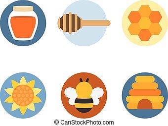 apartamento, jogo, mel, vetorial, desenho, ícone