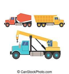 apartamento, jogo, misturador concreto, equipamento, construção, caminhão, guindaste, style.