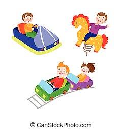 apartamento, jogo, parque, vetorial, crianças, divertimento