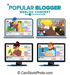 apartamento, jogo, pessoal, channel., ilustração, isolado, videobloggers., weblog, vídeo, flâmula, vector., popular, online., caricatura, blogosphere