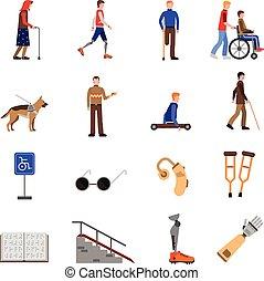 apartamento, jogo, pessoas, ícones, limitou, incapacitado