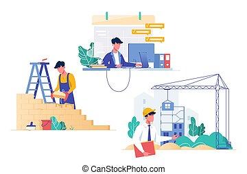apartamento, jogo, professions., construtor, arquiteta, programador
