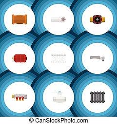 apartamento, jogo, recipiente, elements., recipiente, torneira, flange, inclui, também, vetorial, sanitário, objects., radiador, outro, aquecedor, ícone