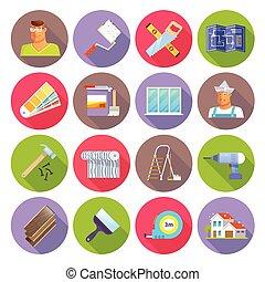 apartamento, jogo, renovação, ícones