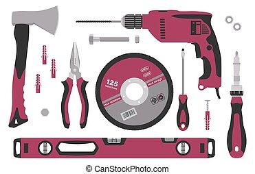 apartamento, jogo, style., reparar, ferramentas, construção, illustration., vetorial