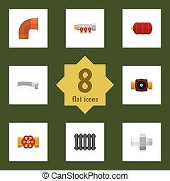 apartamento, jogo, torneira, elements., torneira, indústria, bomba, pipework, inclui, também, vetorial, objects., ícone, aquecedor, outro, ferro