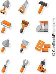 apartamento, jogo, trabalhando, ícones, construção, manutenção, ferramentas