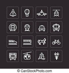 apartamento, jogo, transporte, esboço, ícones, concept., vetorial