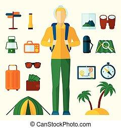 apartamento, jogo, turista, ícones