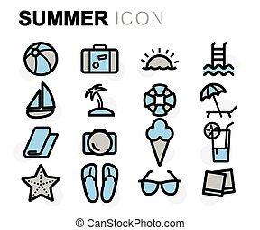 apartamento, jogo, verão, ícones, vetorial, linha