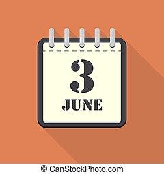 apartamento, junho, ilustração, 3, vetorial, calendário, design.
