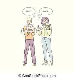 apartamento, língua, pessoas, mão, vetorial, deaf-mute, gesto