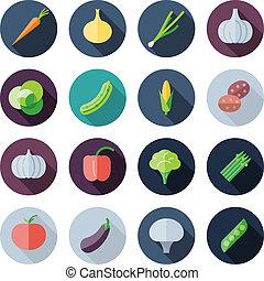 apartamento, legumes, desenho, ícones