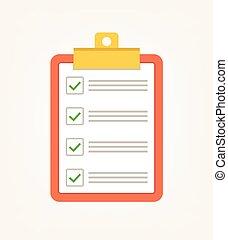 apartamento, lista, ilustração, cheque, vetorial, verde, tick., votando, caricatura