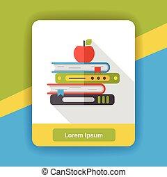 apartamento, livro escolar, ícone