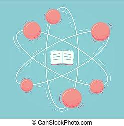apartamento, livro, ilustração, átomo