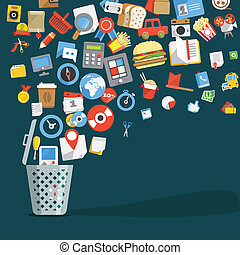 apartamento, lixo, ícones, modernos, trendy, ir, desenho, ...