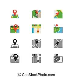 apartamento, localização, colorido, ícone