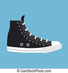 apartamento, lona, trainers., topo, ilustração, alto, vetorial, sapato preto, alto-topo, icon., casual, design.
