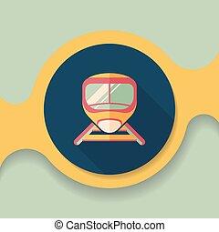 apartamento, longo, trem, sombra, velocidade, ícone