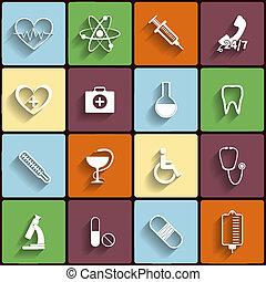 apartamento, médico, vetorial, jogo, ícones