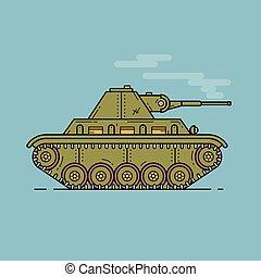 apartamento, médio, tanque, esboço, ilustração, perfil, vetorial, verde, ícone