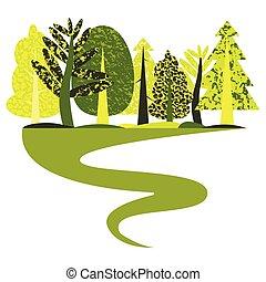apartamento, madeira, verde, ilustração, track.
