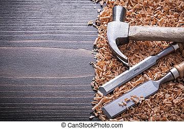 apartamento, madeira, vindima, formões, shavings, garra, boa, madeira, martelo