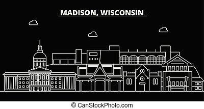apartamento, madison, silueta, cidade, eua, ilustração, arquitetura, linear, -, landmarks., americano, vetorial, skyline., ícone, edifícios., linha, bandeira, viagem, esboço