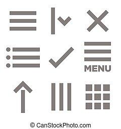 apartamento, menu, ilustração, ícone