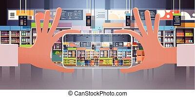 apartamento, mercearia, smartphone, telefone segurando, alimento, foto, levando, modernos, tela, supermercado, mão, móvel, human, interior, horizontais, exibindo, sortimento