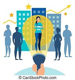 apartamento, metaphor., negócio, trabalho, procurar, ilustração, caricatura, vetorial, empregado, situação, style., melhor, lanterna