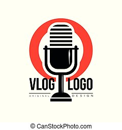 apartamento, microfone, badge., lugar, fluxo, simples, texto, concept., vlog, ou, experiência., viver, vetorial, vídeo, retro, interessante, logotipo, círculo, blogging, vermelho, ícone