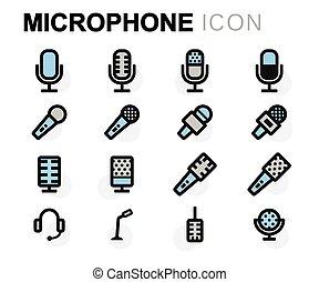 apartamento, microfone, jogo, ícones, vetorial, linha