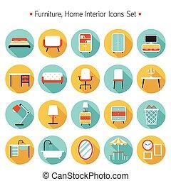 apartamento, mobília, jogo, ícones